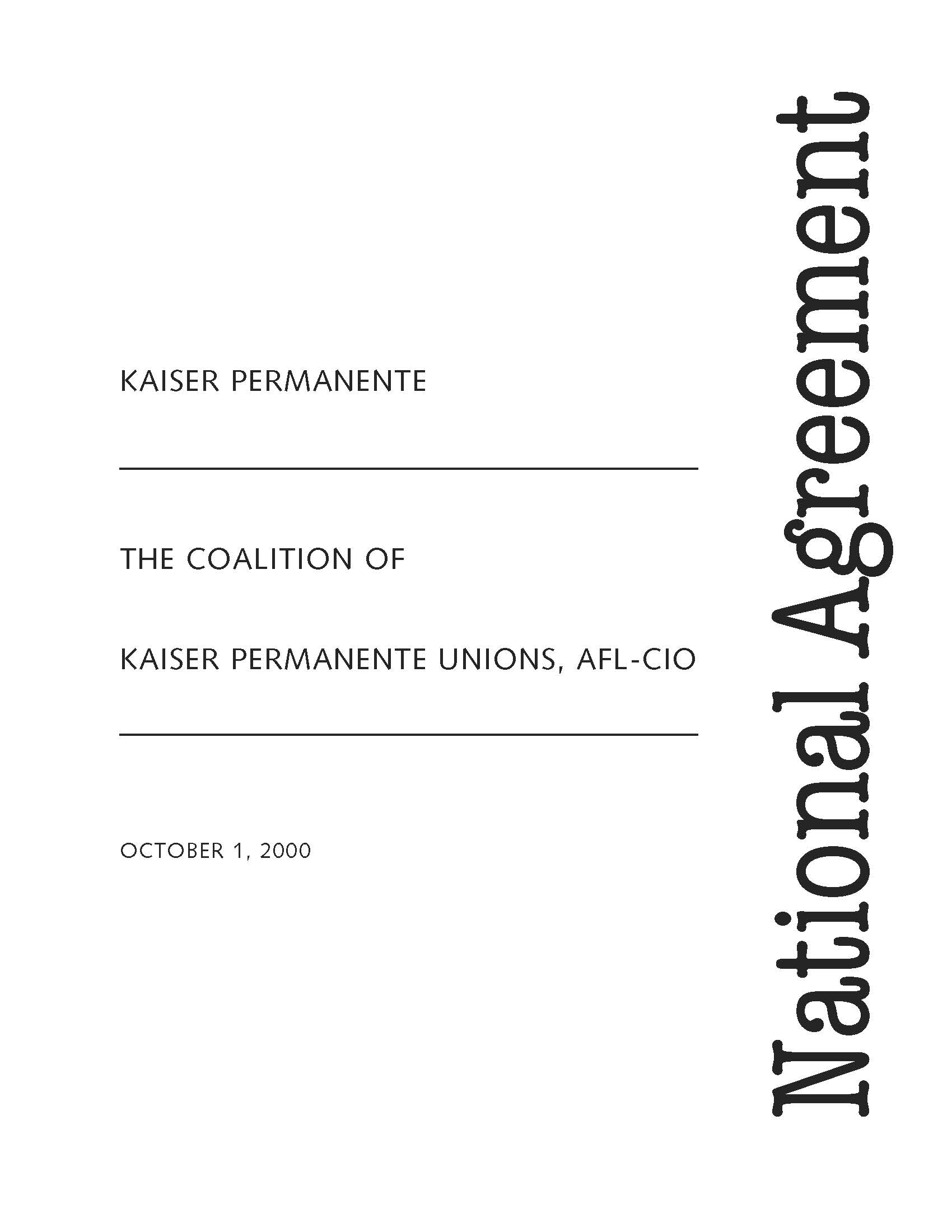 Cover of the 2000 National Agreement