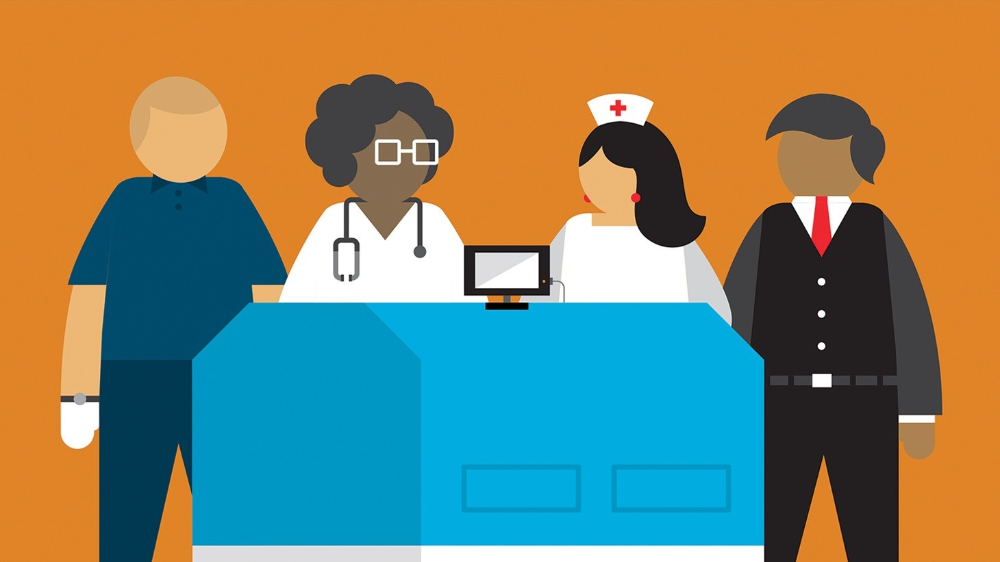 cartoon image of four health care workers
