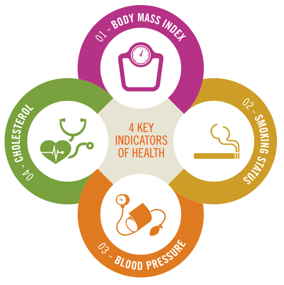 Cloverleaf graphic - a visual summary of the four measures of health at the heart of the new Total Health Incentive Plan