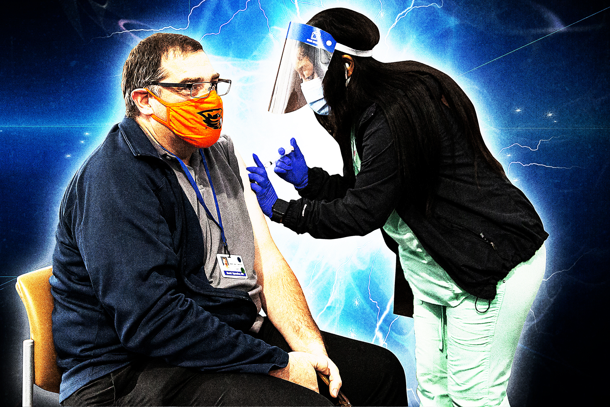 Female health care worker wearing a face shield giving a vaccine to a man.