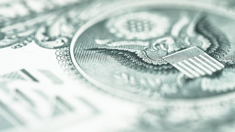 close up of eagle image on a dollar bill
