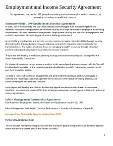 Employment and Income Security Agreement | Labor Management