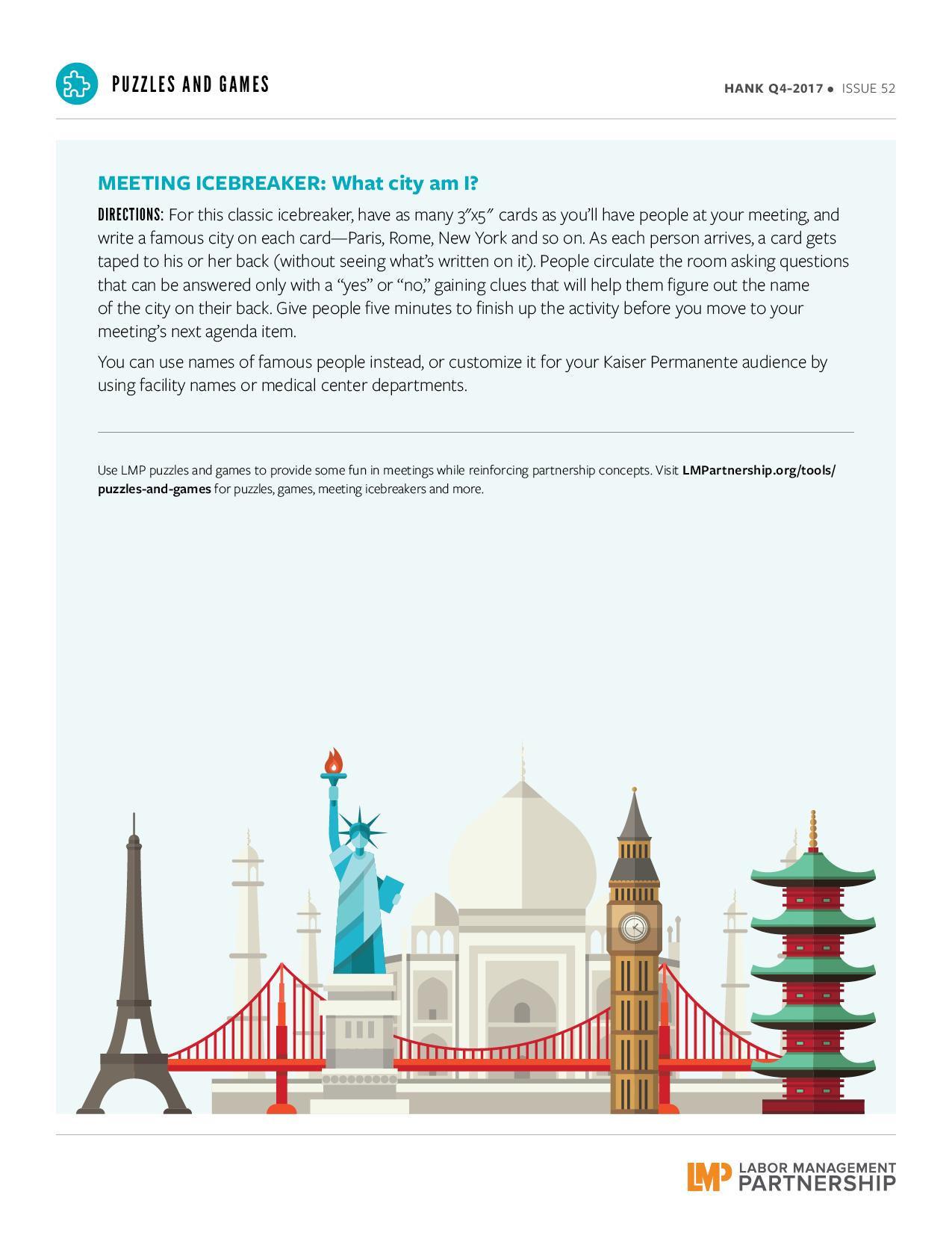 instructions for meeting icebreaker, image of iconic city landmarks