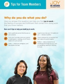 Joy in Work flier tip sheet with image of 2 women, smiling