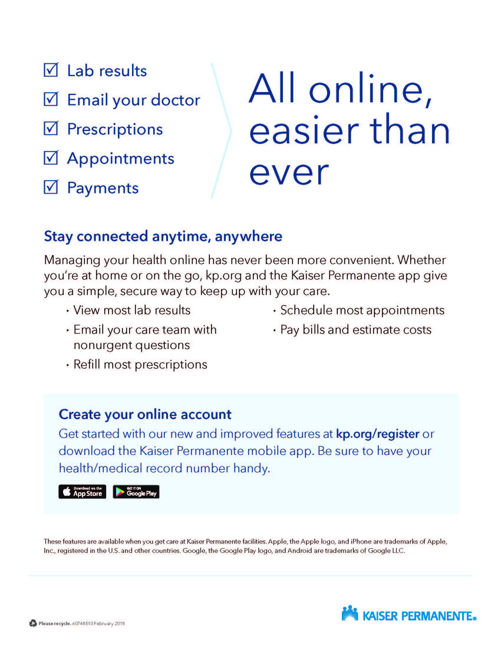 Flier urging patients to register for KP dot org
