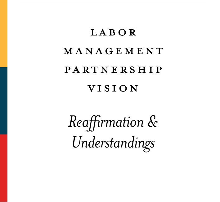 Report cover: Labor Management Partnership Vision Reaffirmation and Understandings