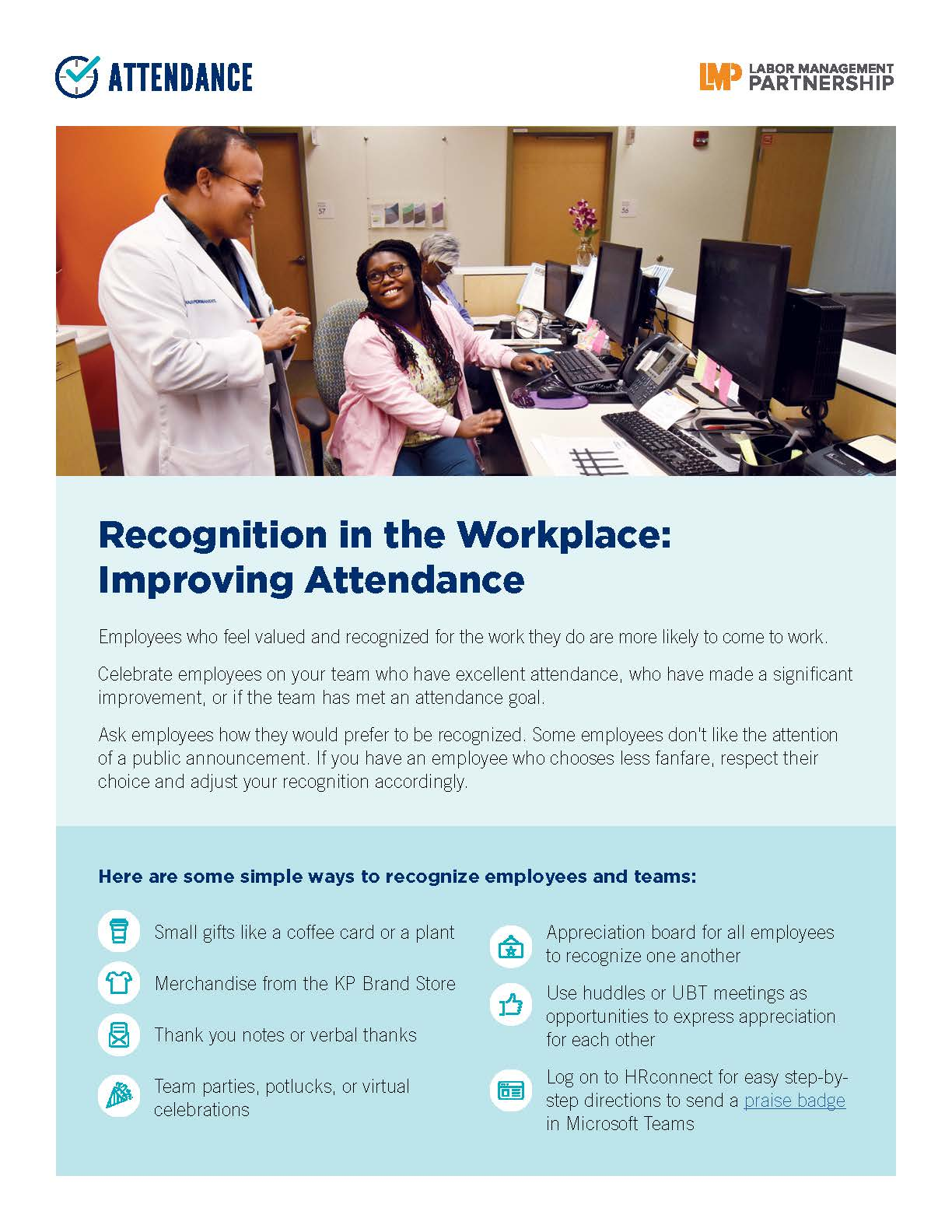 flier with a photo of 2 health care workers at a bank of computers, smiling at each other
