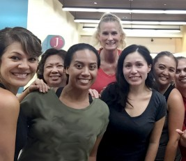 Kaiser Permanente Wailuku clinic registered nurses and medical assistants (including Marja Lehua Apisoloma, RN, HNA, at far left) are still smiling following an end of day workout.