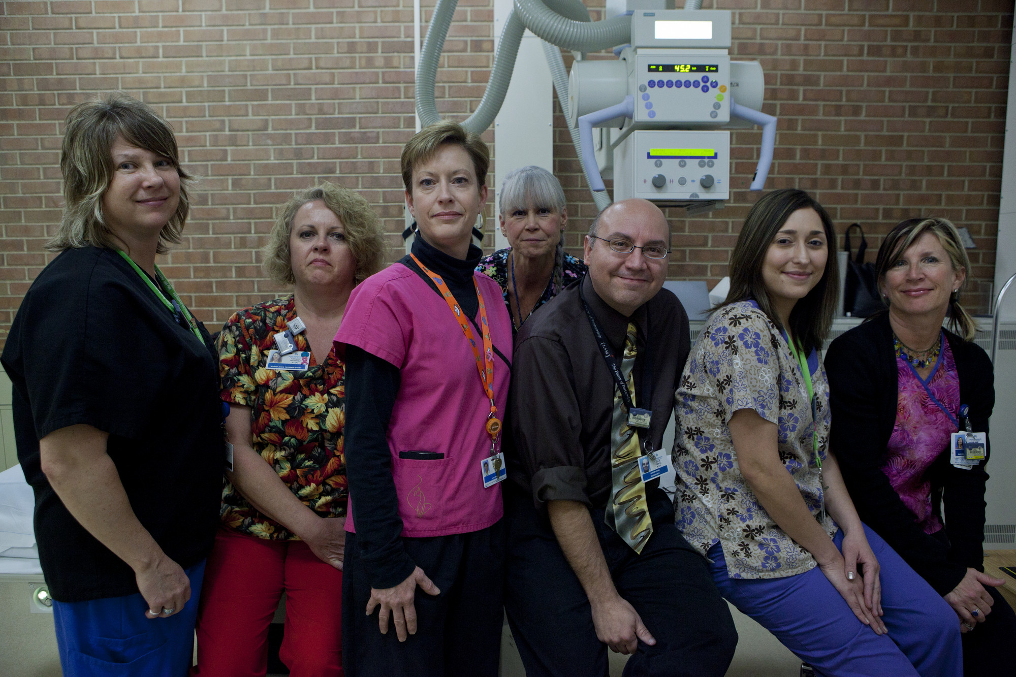 Radiology Tech Pam Fuller. SEIU 105; Rad Tech kennya Matinez. SEIU 105; Diagnostic Med Sonographer Ann Baritovich. SEIU 105; Mammographer Margaret Wollenhaupt. SEIU 105; Radiology Spervisor Steve DeBell. Management; Rad Tech Natlie Munoz. SEIU 105 and Mammographer/rad tech Dianne Powers. SEIU 105