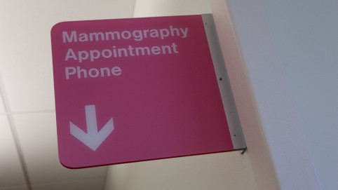 Pink sign that says Mammography Appointment Phone