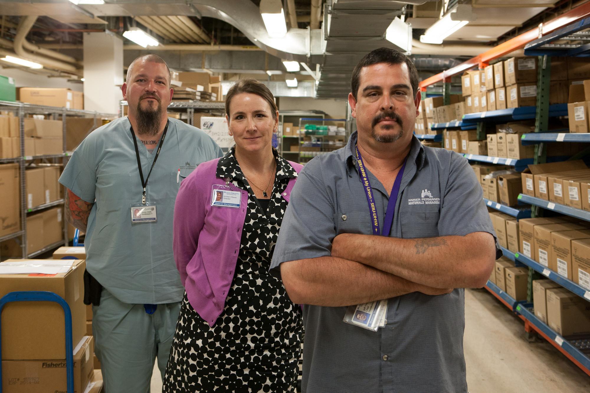 Material Management. L-R) Storekeeper 2 Steve Wells. UHW; Director Kristen Chavis. Management; and Chief Storekeeper Jeff Hayes. UHW