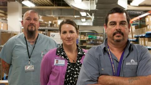 Material Management. L-R) Storekeeper 2 Steve Wells. UHW; Director Kristen Chavis. Management; and Chief Storekeeper Jeff Hayes. UHW.