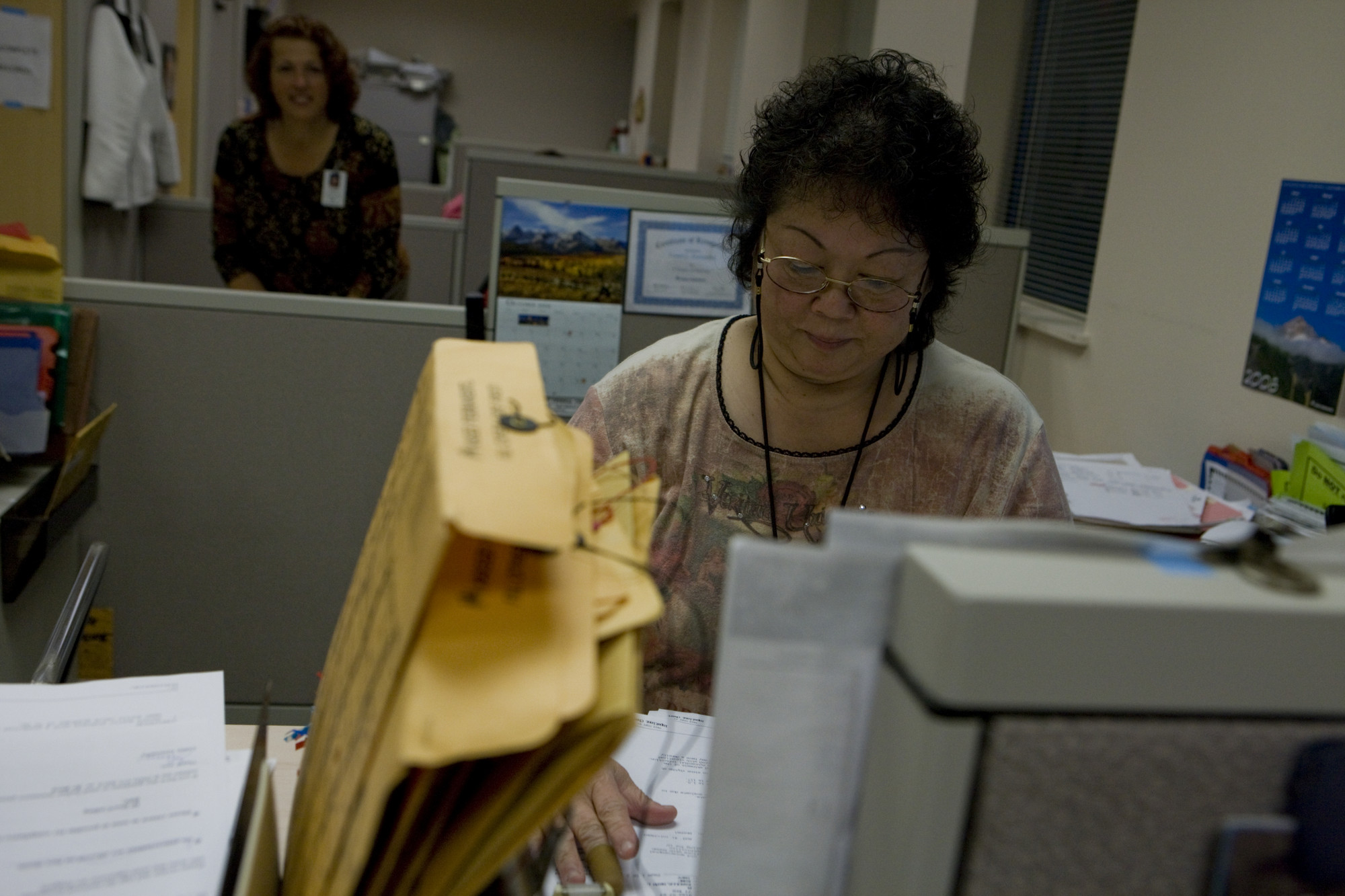 Woman working with documents.