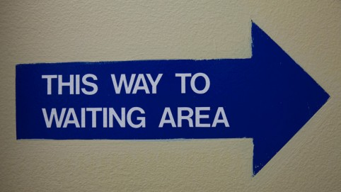 Waiting area sign.