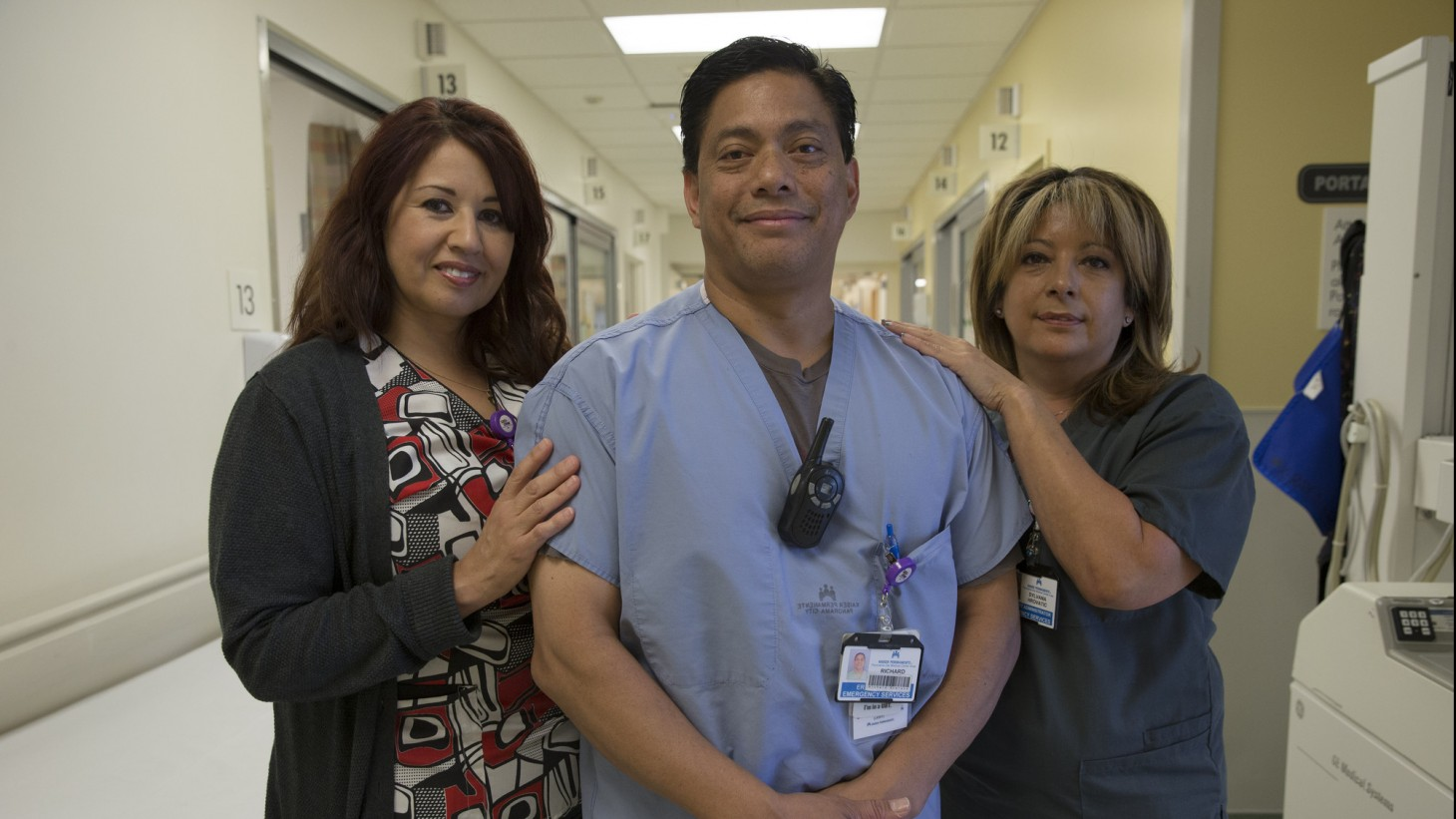 three health care workers posing together