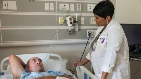 Patient Joe Rasmussen and Med-Surg Clinical Director Renee Portillo.
