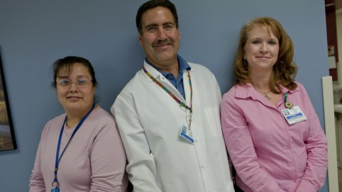 Group portrait of three health care workers