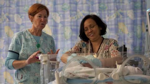 Charge Nurse Lori Speers. UNAC; and RN Emma Luz Yabut, UNAC