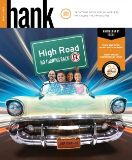 Hank magazine cover - four smiling people in a classic car