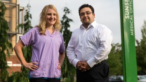 Rikki Shene, LPN, a member of SEIU Local 49, and manager Eliseo Olvera