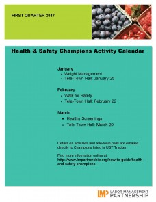 Safety Calendar Ideas : Health and safety champions—activity calendar quarter