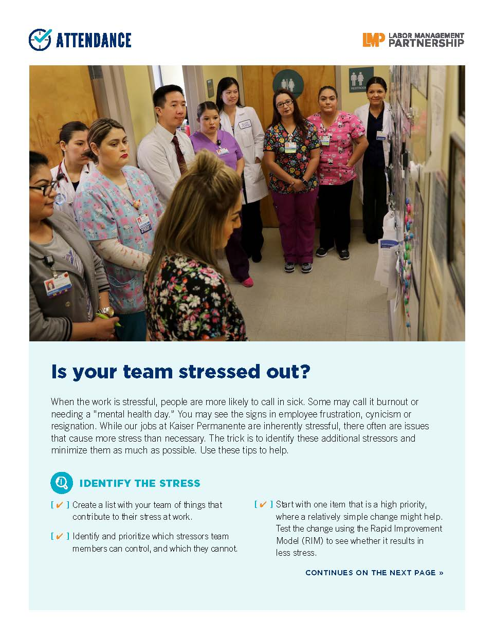 Flier with photo of a group of health care workers, standing together and looking grim